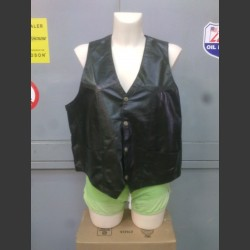 Black leather vest XL